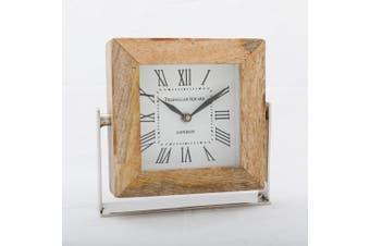 TRAFALGAR SQUARE LONDON 15cm Desk Clock - Timber Surround with White Face