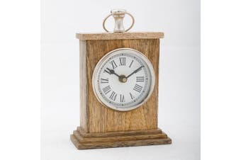 HICKORY 15cm Tall Table Clock in Timber Casing