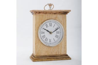 HICKORY 20cm Tall Table Clock in Timber Casing
