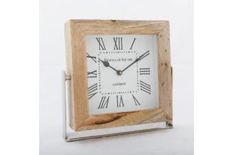 TRAFALGAR SQUARE LONDON 20cm Desk Clock - Timber Surround with White Face