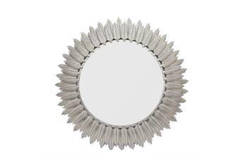 APPLE LEAF Large Round 81cm Wide Wall Mirror - Matte Silver
