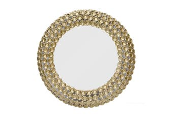 FLOWER Large Round 84cm Wide Wall Mirror - Matte Brass