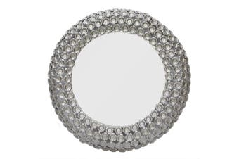 FLOWER Large Round 84cm Wide Wall Mirror - Matte Silver