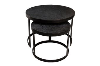 Set of 2 JUTE 43 and 61cm Nesting Round Occasional Tables - Black