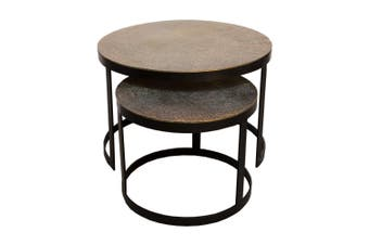 Set of 2 JUTE 43 and 61cm Nesting Round Occasional Tables - Antique Brass