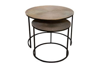 Set of 2 RIDGES 43 and 61cm Nesting Round Side/Occasional Tables - Antique Brass