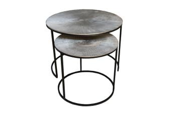 Set of 2 RIDGES 43 and 61cm Nesting Round Occasional Tables - Antique Silver