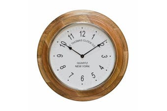 SAINT THOMAS Small 40cm Round Wall Clock with Wooden Surround and White Face