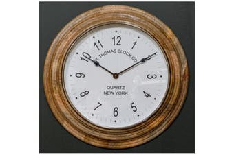 SAINT THOMAS Large 66cm Round Wall Clock with Wooden Surround and White Face