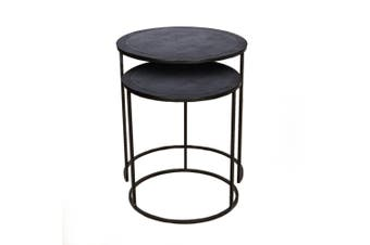 Set of 2 PHILIP 41 and 49cm Wide Nesting Side Tables - Black Nickel