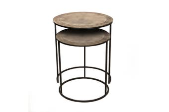 Set of 2 PHILIP 41 and 49cm Wide Nesting Side Tables - Brass