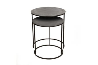 Set of 2 PHILIP 41 and 49cm Wide Nesting Side Tables - Nickel