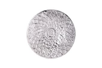 LANKA 76cm Wide Spiral Floral Wall Art - Polished Aluminium