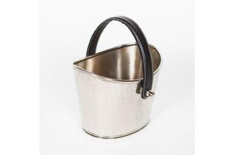 ALBERT Hand Etched Ice Bucket / Wine Cooler - Nickel with Black Leather Handle