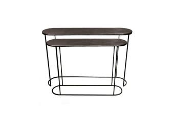 Set of 2 OLIVIA 99 and 118cm Wide Nesting Oval Console Tables - Black Nickel