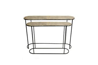 Set of 2 OLIVIA 99 and 118cm Wide Nesting Oval Console Tables - Brass