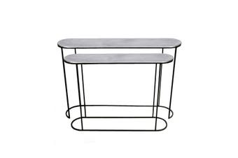 Set of 2 OLIVIA 99 and 118cm Wide Nesting Oval Console Tables - Nickel