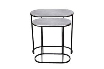 Set of 2 OLIVIA 44 and 52cm Wide Nesting Oval Side Tables - Nickel