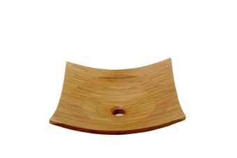 MOKU 41cm Wide Square Curved Bathroom Basin - Bamboo
