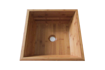 MOKU 40.5cm Wide Square Bathroom Basin - Bamboo
