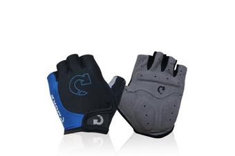 Mountain Bike Gloves Half Finger Road Racing Riding Gloves with Light Anti-Slip Shock-Absorbing-Blue S