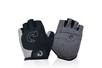 Mountain Bike Gloves Half Finger Road Racing Riding Gloves with Light Anti-Slip Shock-Absorbing-Grey L