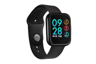 P70 1.3'' IPS Color Touch Screen IP68 Waterproof Smart Watch Blood Pressure Oxygen Monitor Information Push Fitness Exercise Sports Bracelet BLACK
