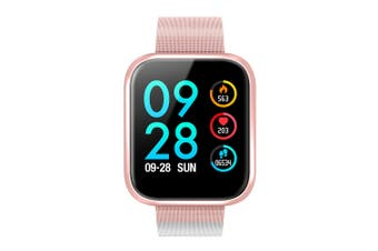 P70 1.3'' IPS Color Touch Screen IP68 Waterproof Smart Watch Blood Pressure Oxygen Monitor Information Push Fitness Exercise Sports Bracelet PINK