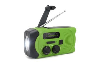 Hand-Crank Solar Power Dynamo AM/FM/WB NOAA Global Weather Radio Flashlight Power Bank GREEN