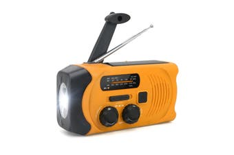 Hand-Crank Solar Power Dynamo AM/FM/WB NOAA Global Weather Radio Flashlight Power Bank ORANGE