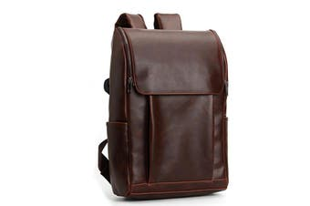 Men PU Leather Leisure Travel Backpack Large Capacity Minimalist Mochila Laptop Bag