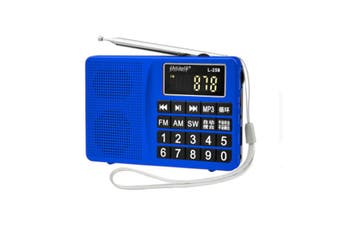 L-258 AM FM SW LCD Display Pocket Portable Radio Receiver MP3 Speaker Player BLUE