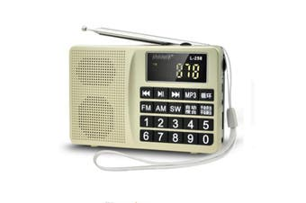 L-258 AM FM SW LCD Display Pocket Portable Radio Receiver MP3 Speaker Player GOLD
