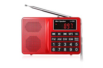 L-258 AM FM SW LCD Display Pocket Portable Radio Receiver MP3 Speaker Player RED
