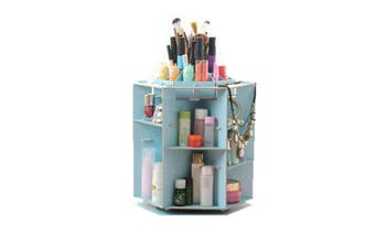 Multifunctional Desktop 360° Rotating Cosmetic Storage Box Wooden Makeup Organizer Case with Mirror Multi Drawers Large Capacity DIY Jewelry Container