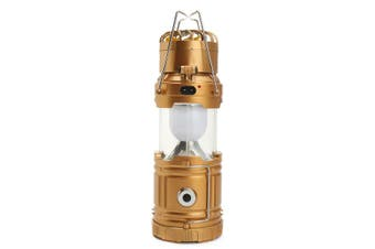 3 In 1 Solar Camping Tent Fan Lantern USB Rechargeable Flashlight Torch Portable Hand Lamp GOLD