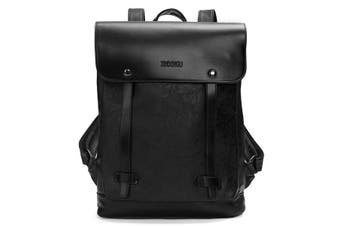 Men Women Vintage Backpack PU Leather Laptop bags School Bag Shoulder Bags BLACK COLOUR