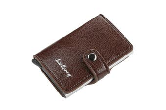 Men Business RFID Anti-scan Mini Magic Automatic Credit Card Metal Coins Bag Wallet ID Card Holder COFFEE COLOR