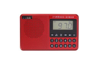 Portable FM AM SW Full Band Dual Antenna Radio U Disk TF Card MP3 Music Player RED