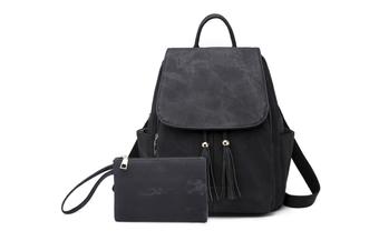 Women'S Shoulder Bag Fashionable Leather Cute Mini Backpack Wallet Black