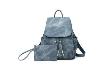 Women'S Shoulder Bag Fashionable Leather Cute Mini Backpack Wallet Blue