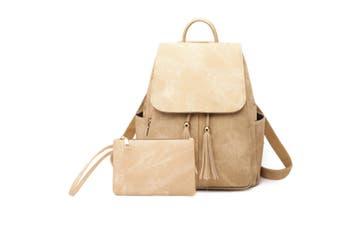 Women'S Shoulder Bag Fashionable Leather Cute Mini Backpack Wallet Khaki