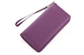 Lady'S Leather Long Purse Zipper Purse Multi-Card Purse Head Leather Purple