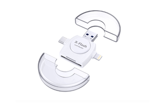 4 In 1 Mobile Phone Card Reader TF SD Round Multi-function Card Reader for Apple Type-c Mobile Phone-White