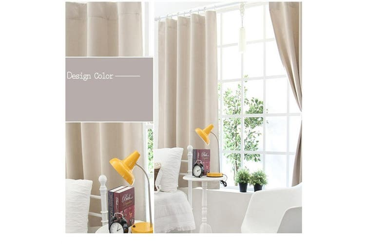 Modern Simple Solid Color Short Blackout Curtains For Bedroom Size 1 3 X 2 M Processing Grommets Top Beige Matt Blatt