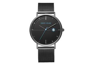 Creative Mesh Belt Ladies Waterproof Watch Stainless Steel with Watch Trend Simple Quartz Watch-Black