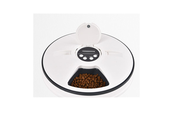 Automatic Cat Feeder Timed Food Dispenser for Dogs, Cats,Small Animals Digital Pet Feeder Distribution, 6 Meal Auto Pet Feeder-WHITE
