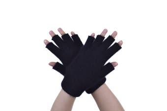 McDonald Black Possum Fur Merino Fingerless Gloves