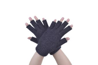 McDonald Charcoal Possum Fur Merino Fingerless Gloves