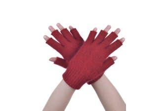 McDonald Red Possum Fur Merino Fingerless Gloves